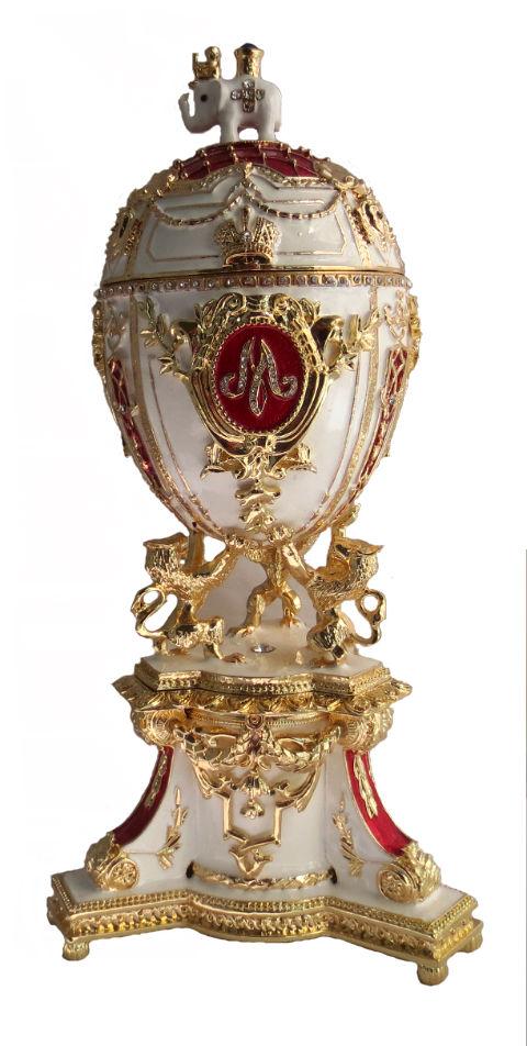 9826d3c219 Copie oeuf de Fabergé - Copie oeuf Fabergé Blanc et rouge - L'oeuf Royal