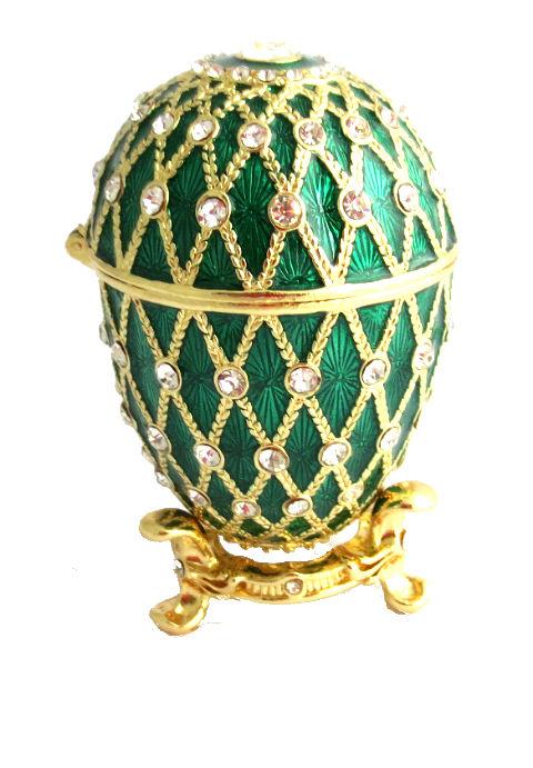 7d49ef8db5 Copie œuf de Fabergé La Boite vert et or avec des strass fabrication  artisanale